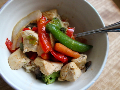 orange glazed chicken stir fry