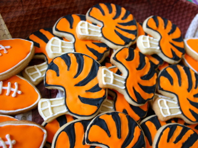 tiger stripe football helmet cookies
