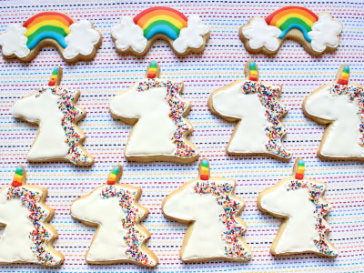 unicorn and rainbow cookies
