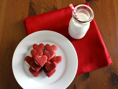 red velvet heart sandwich cookies