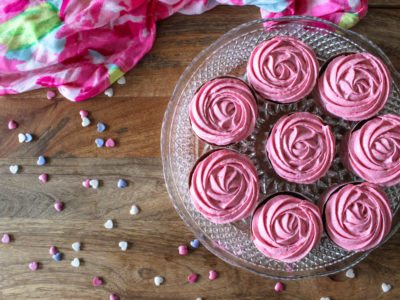 chocolate raspberry rose cupcakes